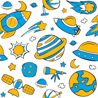 Blue and yellow space seamless pattern in flat design style