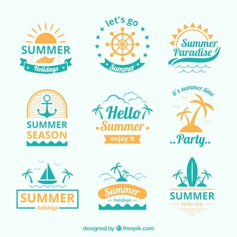 Blue and yellow summer logo collection