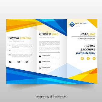 Blue and yellow trifold brochure