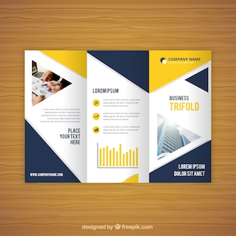 Blue and yellow trifold business flyer
