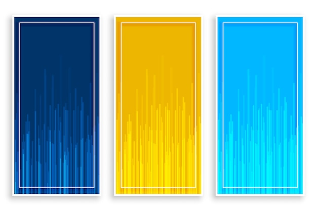 Blue yellow vertical banners with lines set