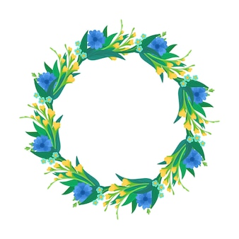 Blue and yellow wildflowers wreath, botanical floral composition.