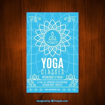 Blue yoga classes with a floral symbol flyer