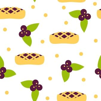 블루베리와 파이 완벽 한 패턴입니다. 흰색 배경에 디자인을 위한 벡터 원활한 패턴