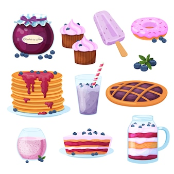 Blueberries dessert with jam, icecream, pancake, berries, milkshake on berries illustration isolated on white
