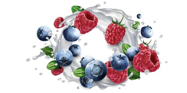 Blueberries and raspberries and a splash of milk or yogurt.