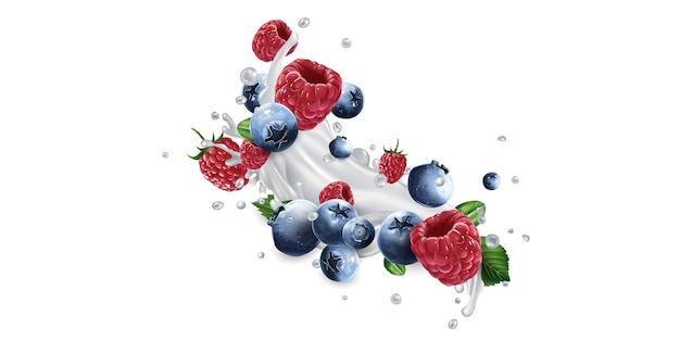 Blueberries and raspberries and a splash of yogurt or milk on a white background.