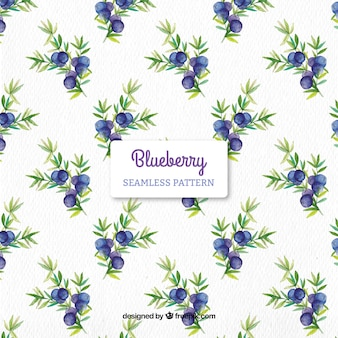 Blueberries watercolor pattern