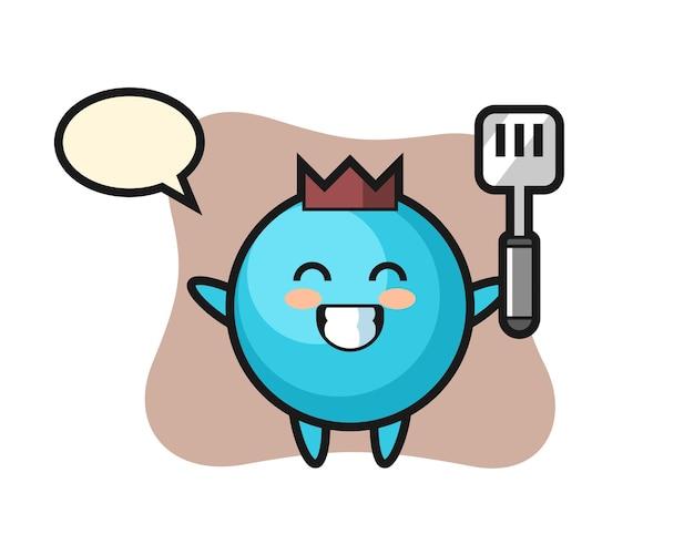 요리사가 요리하는 블루 베리 캐릭터