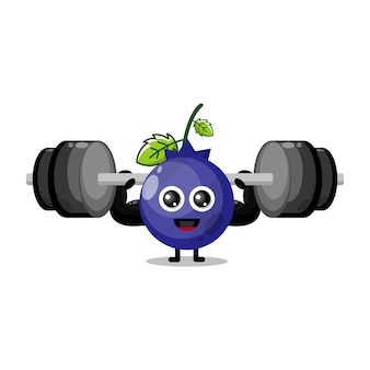 Blueberry fitness cute character mascot