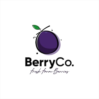 Blueberry fresh fruit farm organic logo design
