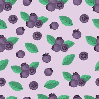 Blueberry fruit hand drawn seamless pattern