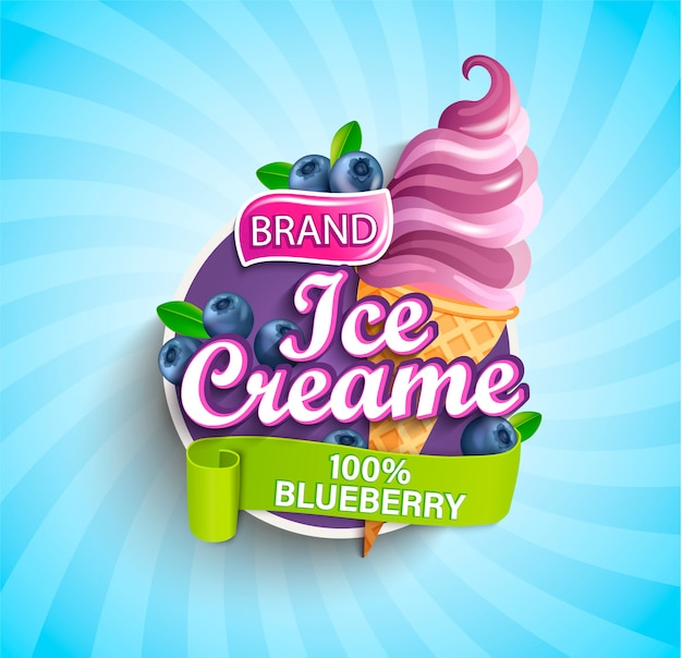 Blueberry ice cream logo, label or emblem.