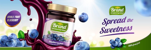 Blueberry jam ads with splashing liquid pouring down from sky on bokeh background, 3d illustration