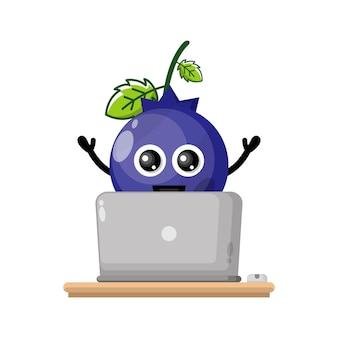ブルーベリーノートパソコンかわいいキャラクターマスコット