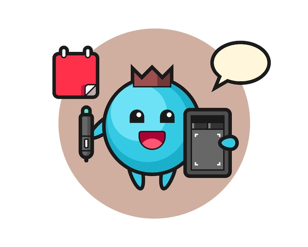 Blueberry mascot as a graphic designer