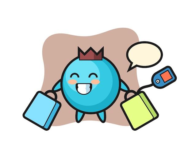 쇼핑 가방을 들고 블루 베리 마스코트 만화