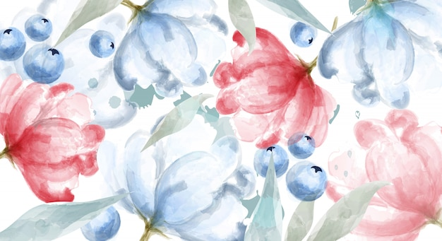 Blueberry and pink flowers watercolor banner frame