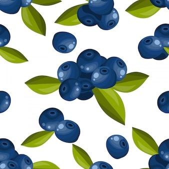 Blueberry seamless pattern.