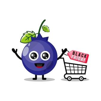 Черничный шоппинг черная пятница милый персонаж талисман