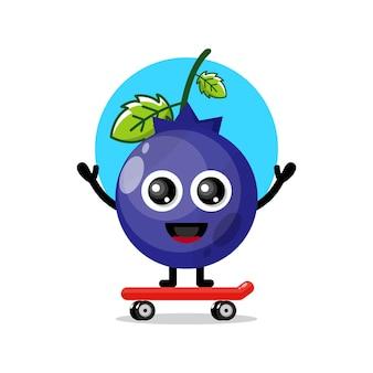 ブルーベリースケートボードかわいいキャラクターマスコット