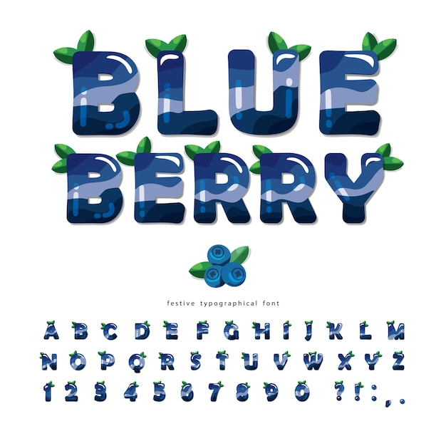 Blueberry summer font. cartoon alphabet.