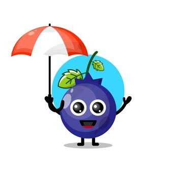 블루베리 우산 귀여운 캐릭터 마스코트