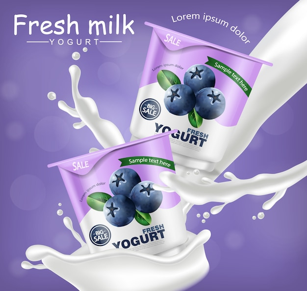 Blueberry yogurt realistic mockup