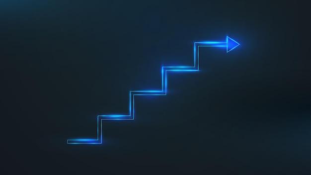 矢印の付いたブルーラインの階段。ビジネスの成長の成功の概念。ベクトルイラスト