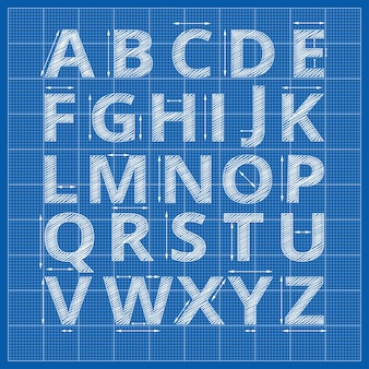 Blueprint alphabet. drafting blueprint paper letters.