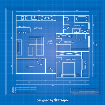 Blueprint arhitectural plan for a house