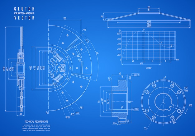 Blueprint of the car clutch, construction draft or project technical drawing isolated on blue .