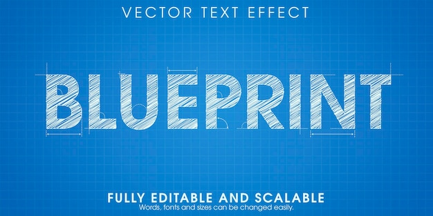 Blueprint drawing text effect, editable engineering and architectural text style