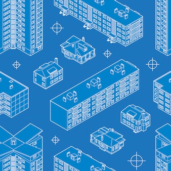 Blueprint dwelling buildings seamless pattern.