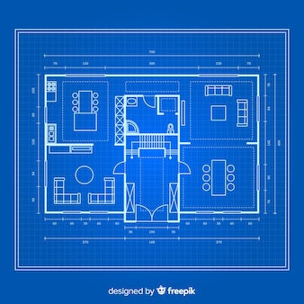 Blueprint of a house on blue background
