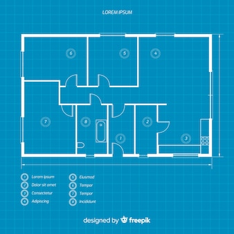 Blueprint of a house flat lay
