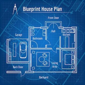 청사진 집 계획. 건축 주택, 도면 구조 및 계획을 설계하십시오. 벡터 일러스트 레이 션