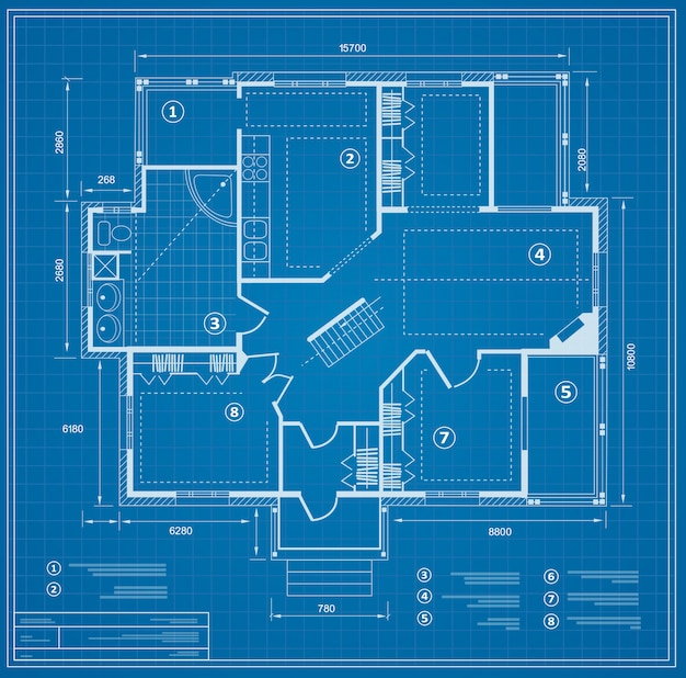 Blueprint house plan drawing. figure of the jotting