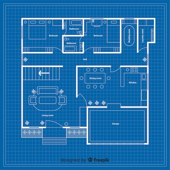 Blueprint of a house with details Free Vector