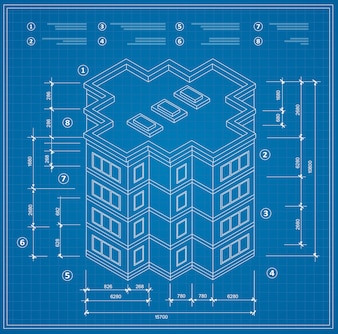 Blueprint isometric plan of a residential building