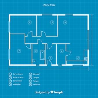 家の青写真のレイアウト