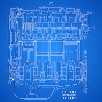 내연 기관의 청사진, 파란색 배경 프로젝트의 기술 도면