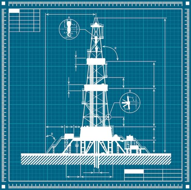 Blueprint of oil rig silhouette illustration