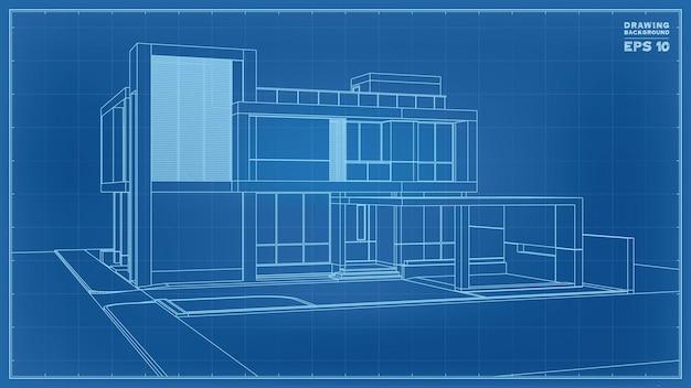 ブループリントの視点。トロピカルハウスのワイヤーフレームの3dレンダリング。住宅建設のアイデアのベクトルイラスト。