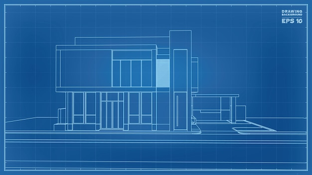 Blueprint perspective. 3d render of tropical house wireframe. vector illustration of house construction idea.