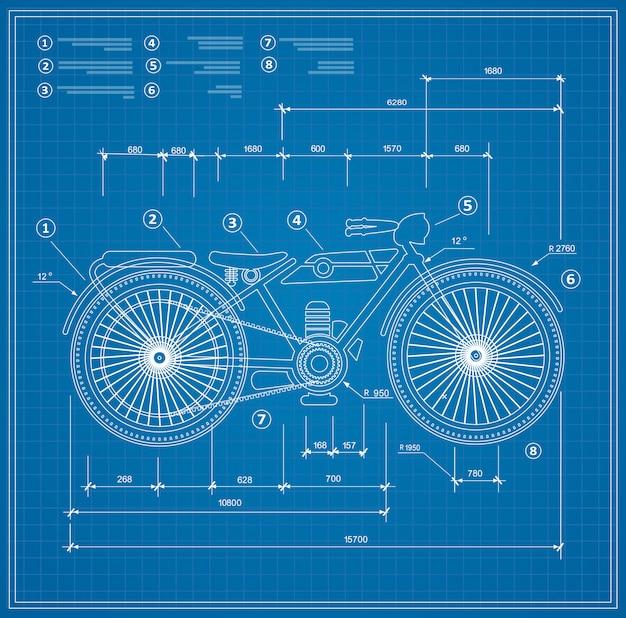 오토바이의 청사진 계획 개요 초안 오토바이입니다. 프리미엄 벡터