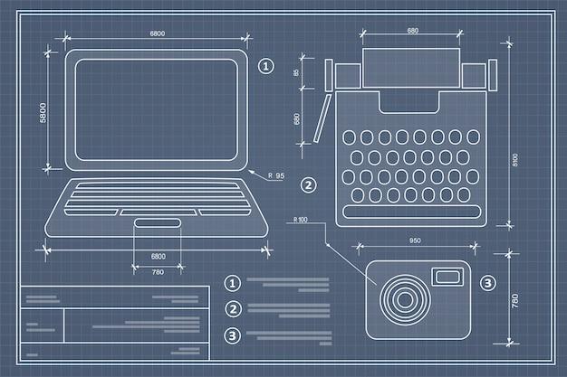Blueprint plan outline draft personal computer set