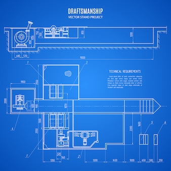 Blueprint technical drawing of a stand design on blue background. construction project