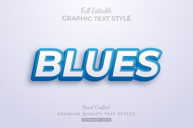 Blues editable 3d text style effect premium