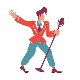 ブルースジャズ歌手がマイクフラットカラーの顔のないキャラクターでポーズします。 40代の髪型と赤いブレザーの昔ながらの男。レトロなクラブパフォーマー、ソロミュージシャン分離漫画イラスト